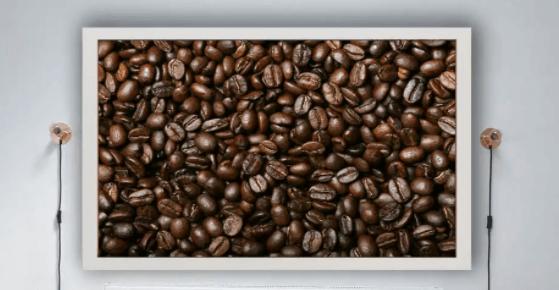 plakat z ziarnami kawy